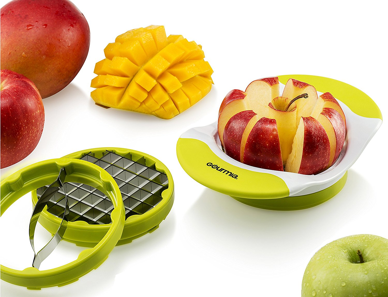 Gourmia Handle Push Cutter cutting apples and mangos.