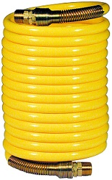 Coiled up yellow nylon air hose - Amflo 6-25