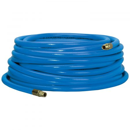 Coiled up Campbell-Hausfield's PVC hose