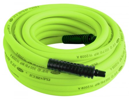 Coiled up Flexzilla hybrid air hose in green
