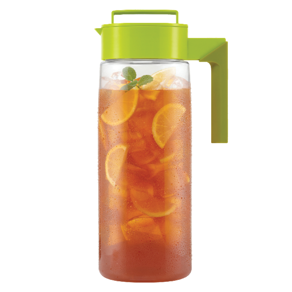 Takeya's Flash Chill Iced Tea Maker - Filled with tea, ice, and lemons.