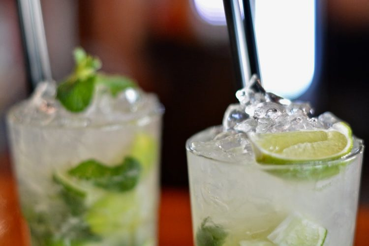 Two crushed ice cocktails with lime