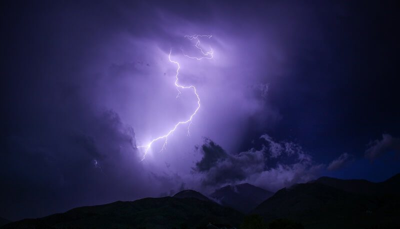 Thunder and Lightning over Mountains