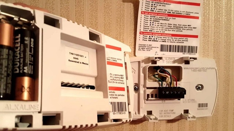 The inside of a Honeywell thermostat.