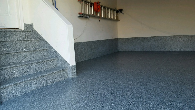 Polyurea coating on a garage floor.
