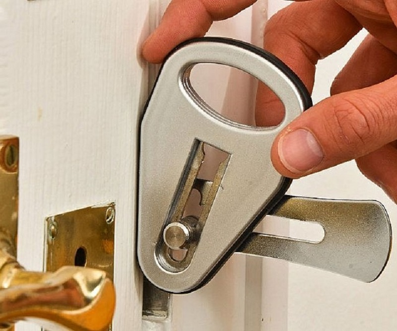 A temporary, portable door lock.