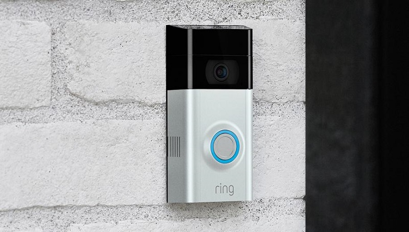 Ring doorbell on an exterior house wall.