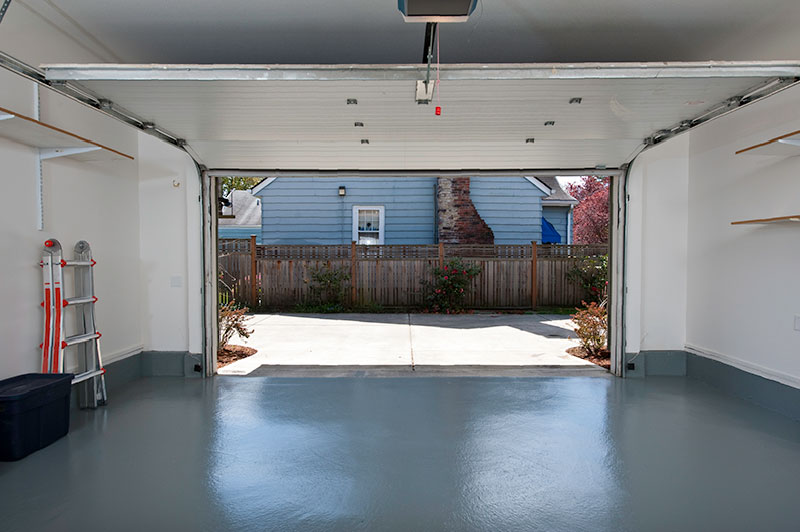Garage with open door