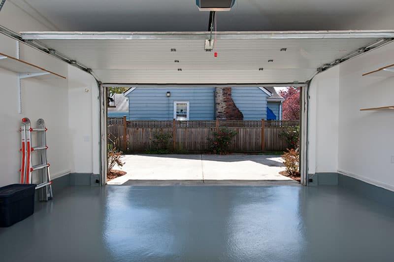 Garage with open door