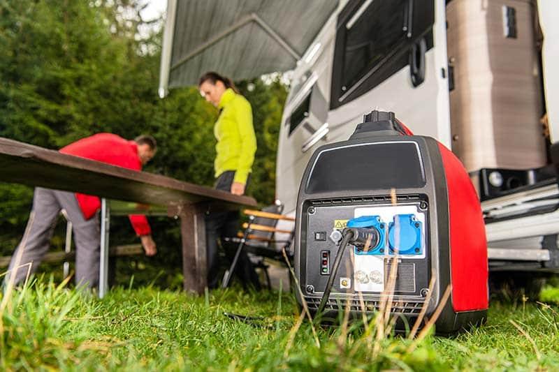 Portable generator on campsite