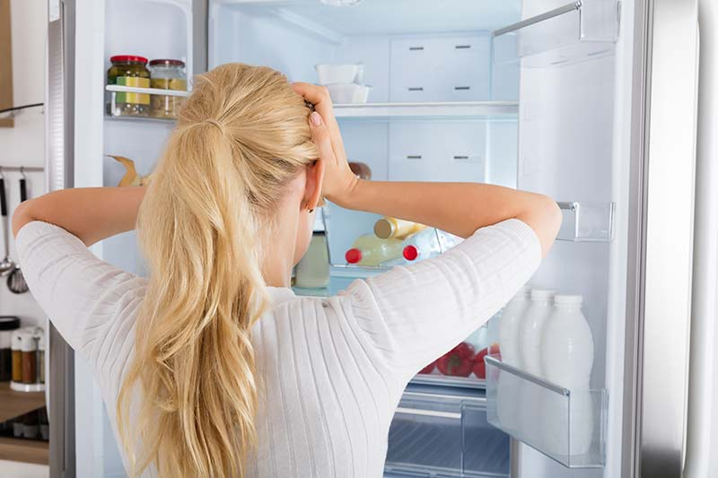 Finding gone-off food in fridge
