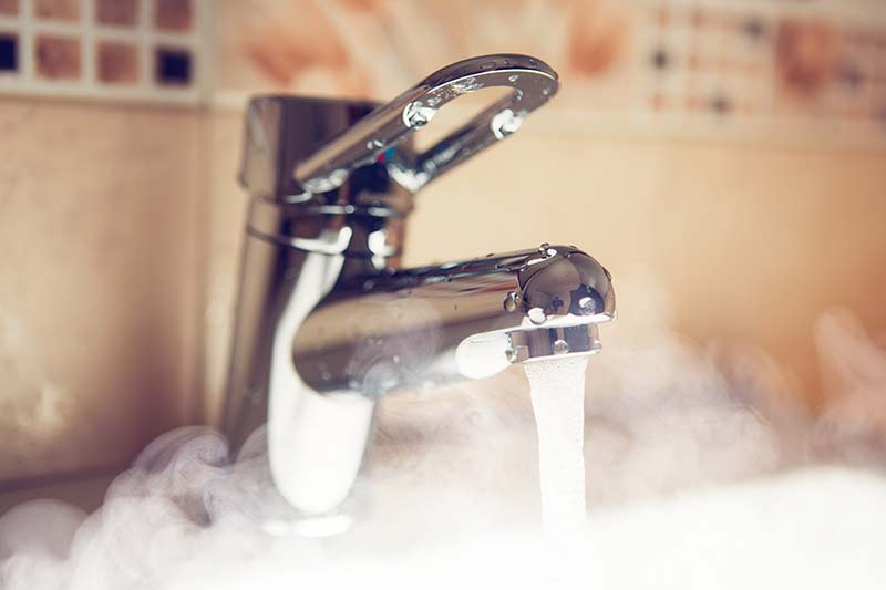 Hot water from a tap