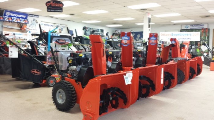 Snow blowers in a store