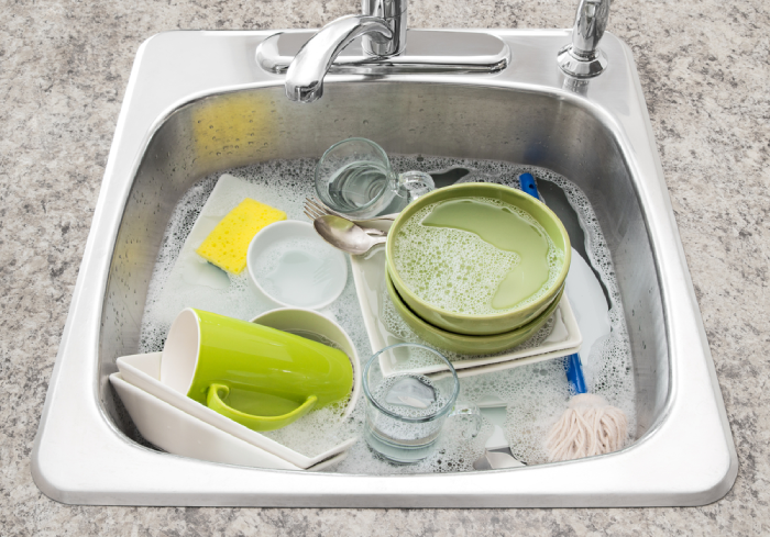 dirty dishes on the sink