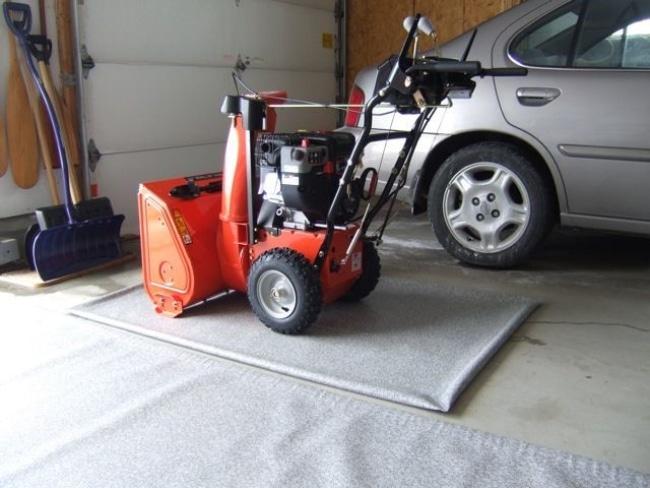 Snow blower in garage