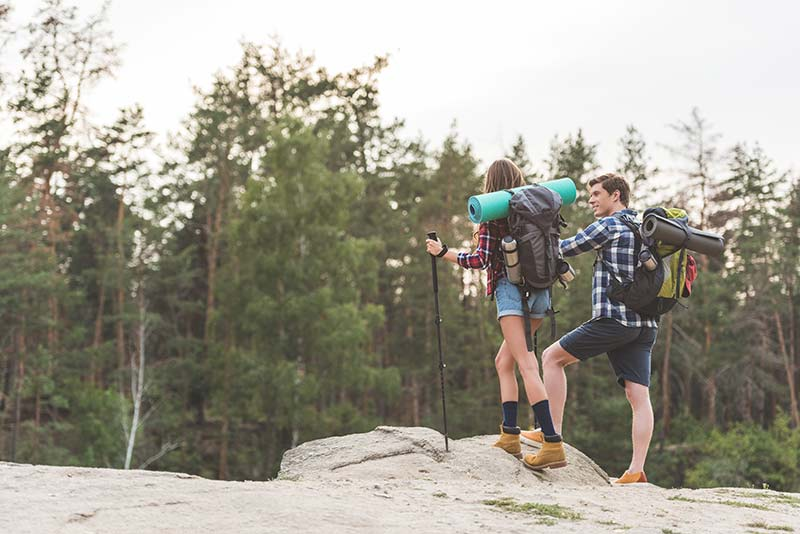 Couple hiking and camping