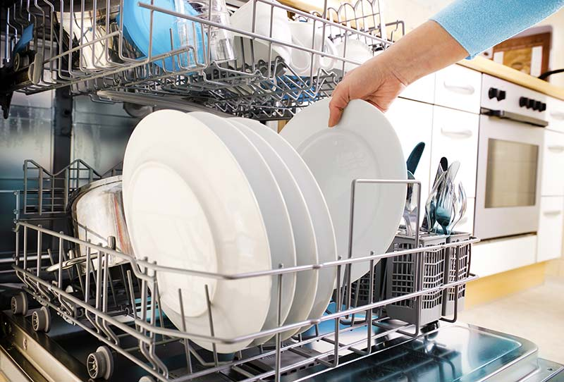 clean dishes inside dishwasher