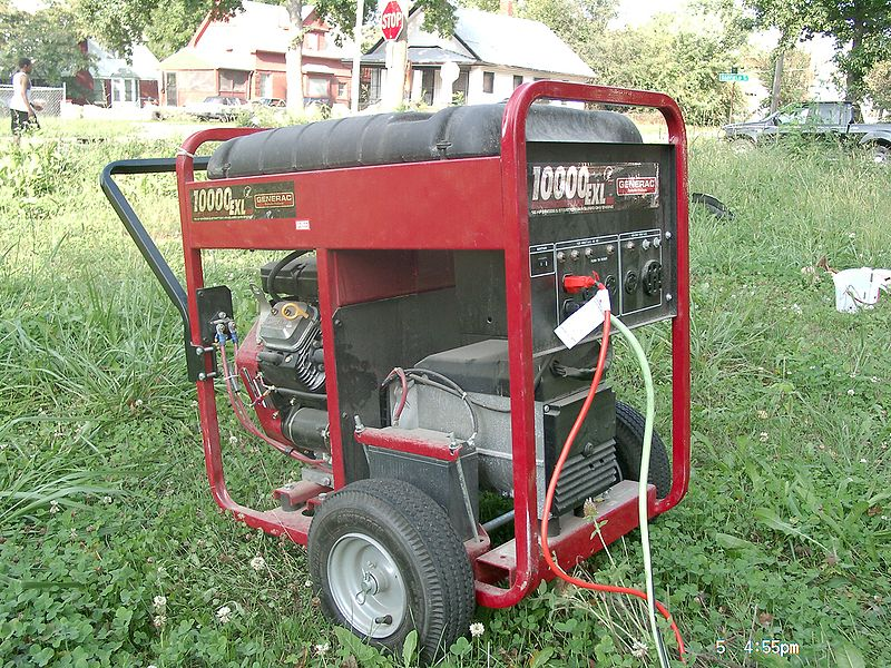Generator moved to garden