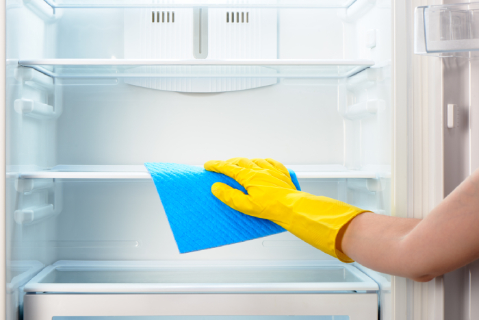 hand cleaning the refrigerator