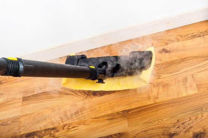 steam mop on floor