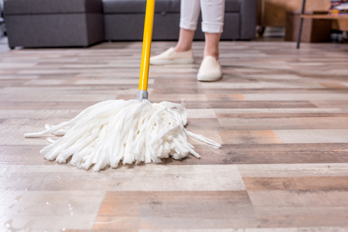 traditional mop on floor