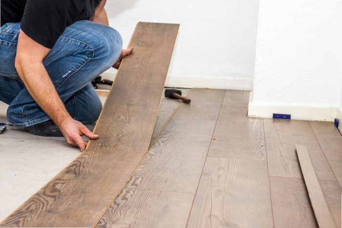 man removing floors