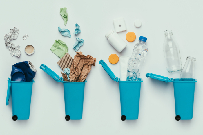recycling bins with recyclable materials