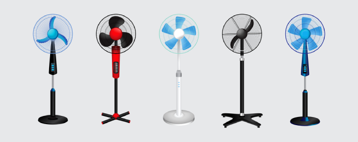 5 standing fans