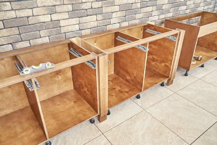 unfinished kitchen cabinets made of plywood