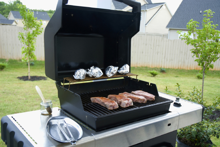 natural gas grill used for grilling meat