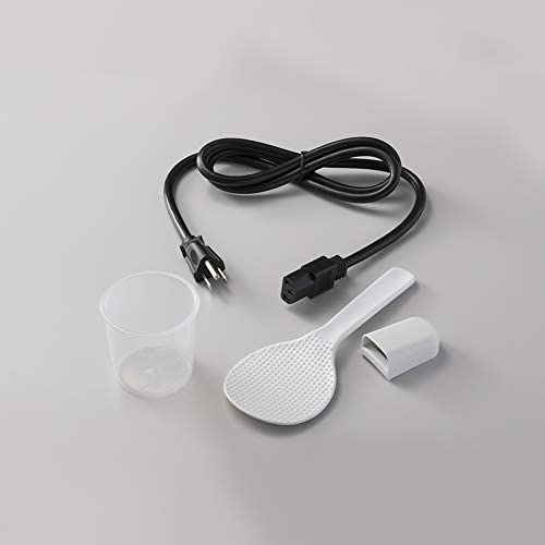 detachable power cord, measuring cup, spatula and holder
