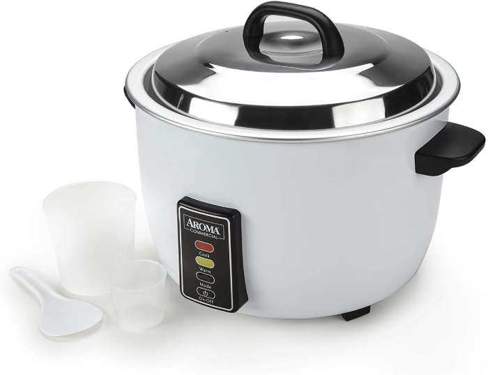 rice cooker, rice paddle and measuring cups
