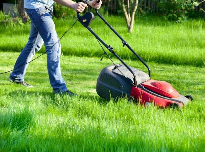 male using a red corded lawn mower