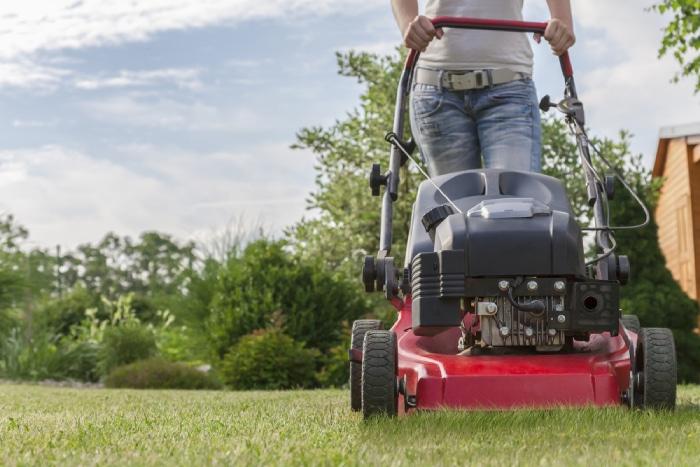red self-propelled lawn mower