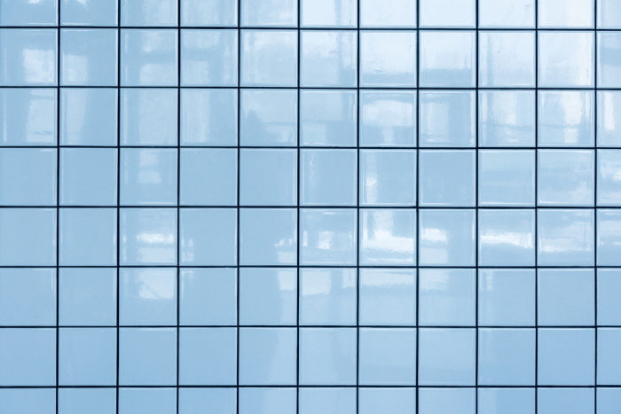 blue tiles with blue grout