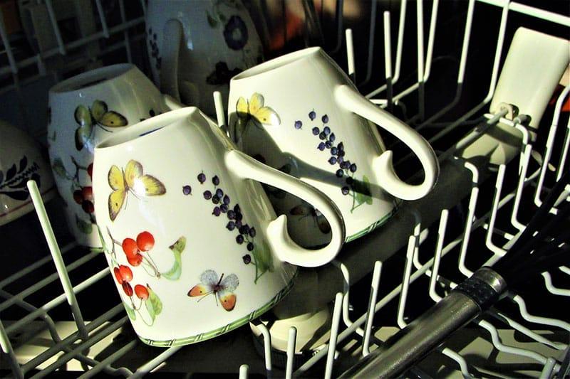 Mugs in a dishwasher