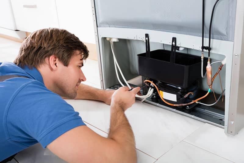Professional repairing fridge