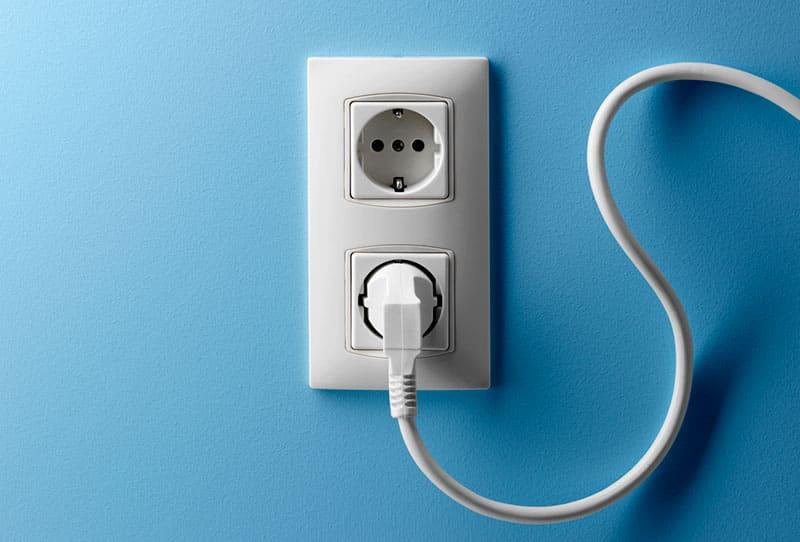 TV cord in socket