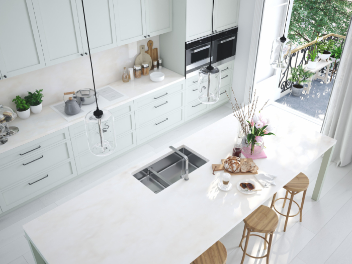 top view of a clean kitchen