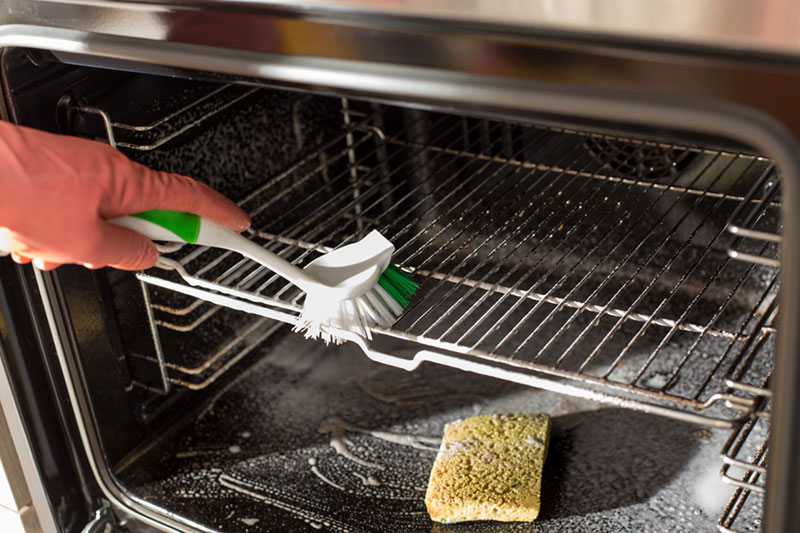 Cleaning inside an oven