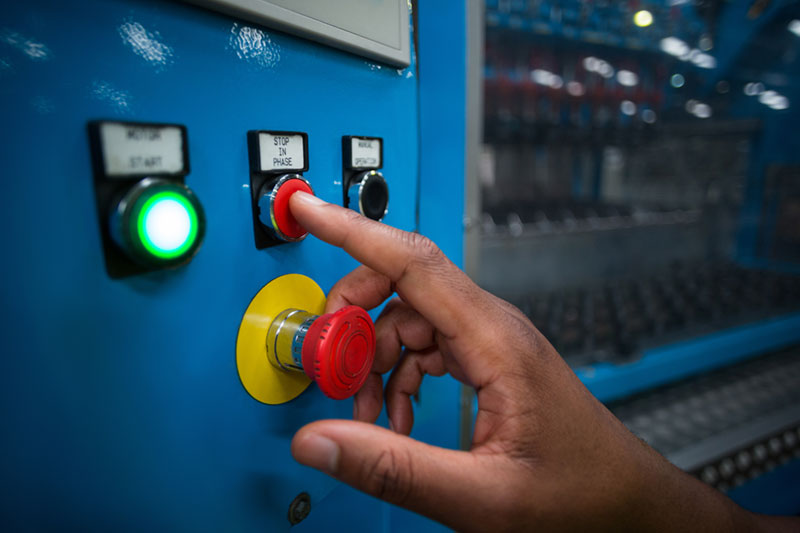 Factory worker button