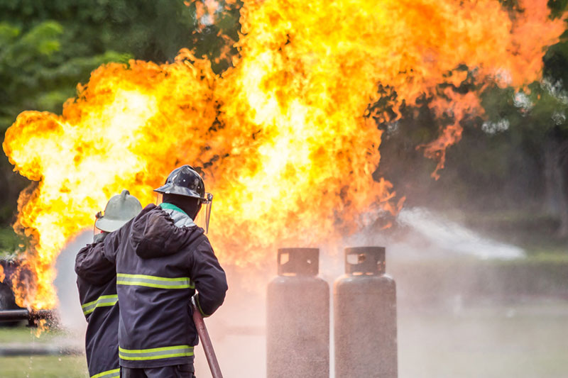 Fire fighters with gas explosion