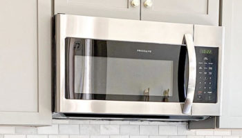 A microwave oven in a kitchen