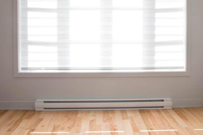 white baseboard heater